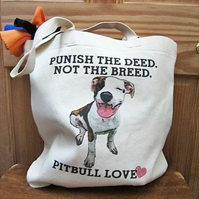 Pit Bull Love Jumbo Tote Bag - Punish the Deed Not the Breed - Free Shipping