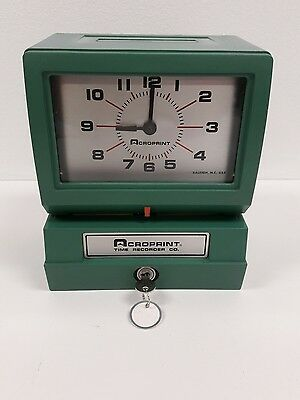 Works Heavy Duty Acroprint Time Recorder Electric Punch Time Clock 125QR4 & Key