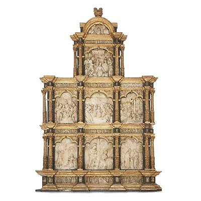 A Flemish giltwood and carved alabaster retable, circle of Jean Mone (... Lot 33