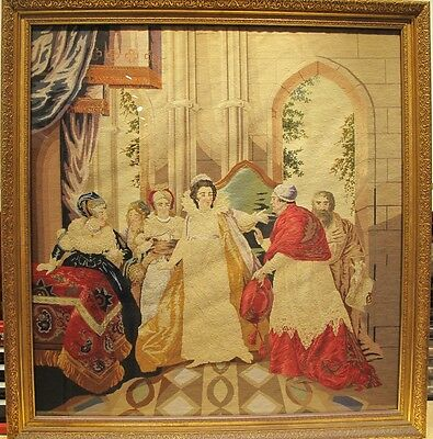 Large 19th Century Signed English Needlepoint Tapestry Under Glass Circa 1850s