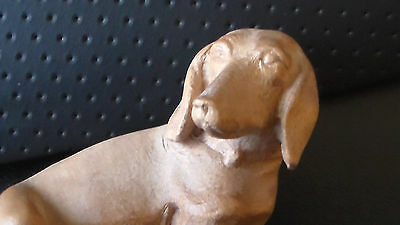 Beautiful Vintage Hand Carved Wooden Dachshund Dog Figurine 2.5""
