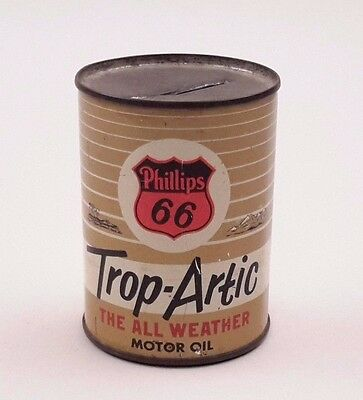 Vintage Phillips 66 Trop-Artic The All Weather Motor Oil Coin Bank 1950s