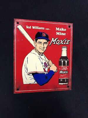 Ted Williams Says Make Mine Moxie Red Sox Baseball MLB Vintage Metal Tin Sign
