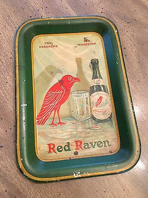 "Rare Antique Red Raven Splits ""For Headache Indigestion"" Tin Tip Serving Tray"