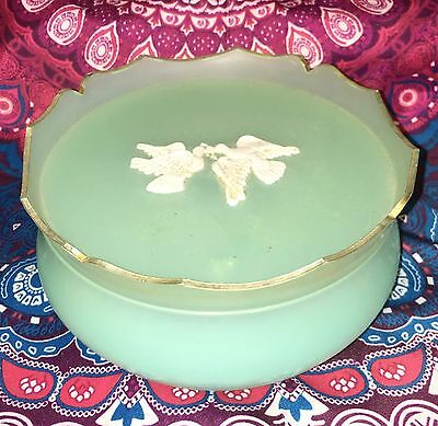 Vintage Avon ~ Doves Blue Rapture Powder Jar Trinket Box ~ Estate Collectable