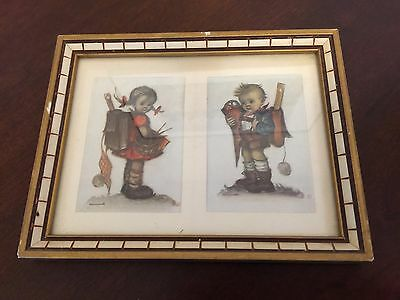 "Hummel Framed Double Photo titled ""Boy & Girl"" Made in West Germany"
