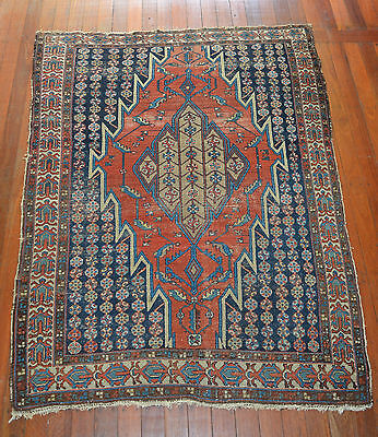 Antique Hand Knotted Mazlaghan Hamadan Wool Pile Rug