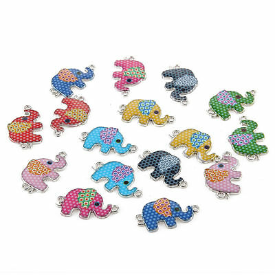 10pcs Mixed Elephant Oil Drip Connectors Alloy Charms DIY Jewelry Making 16*26mm