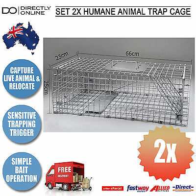 2x Animal Trap Humane Cage Catch Live Pest 66cm Cage Possom Rodent Bait