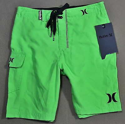 Nwt Boys Hurley Neon Green Swimming Suit Trunks Board Shorts Size 6-20