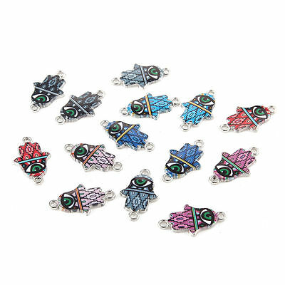10pcs Mixed Eye Palm Oil Drip Connectors Alloy Charms DIY Jewelry Making 14*23mm