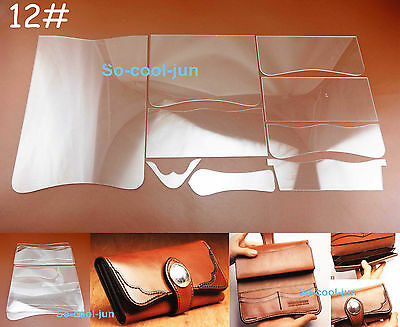 9pcs Leather Craft Acrylic Perspex Long WalletPattern Stencil Template Tool Set