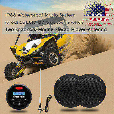 """Bluetooth Marine Boat Audio Stereo MP3 Player+ 4""""Marine Speakers+Antenna Package"""