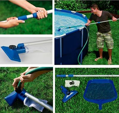 Above Ground Swimming Pool Maintenance Cleaning Kit Bugs Cleaner Set Vacuum Pole