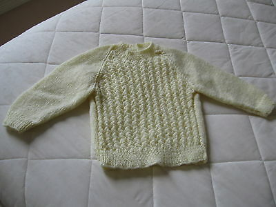 Baby Jumper Hand Knitted Fit up to 1 year old.  yellow Chest 44 cm Length 28 cm