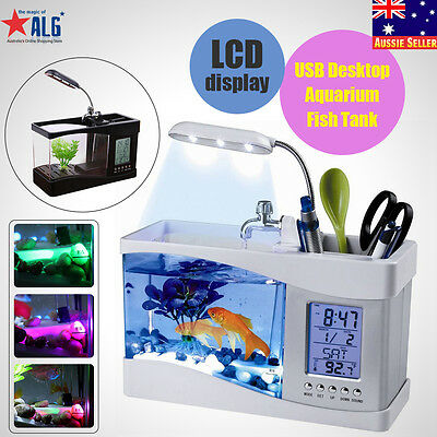 USB Mini LCD Desktop Fish Tank Aquarium Timer calendar Clock LED Lamp Light New