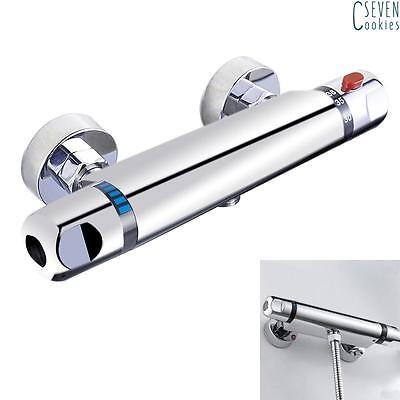 Chrome Thermostatic Bar Mixer Shower Valve Round Tap Bottom Outlet For Shower