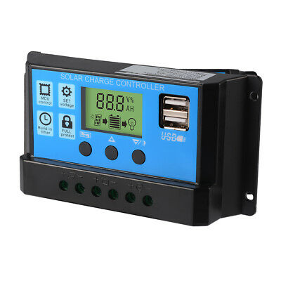 LCD Solar Panel Battery Regulator Charge Controller Dual USB 10A/20A/30A 12V/24V