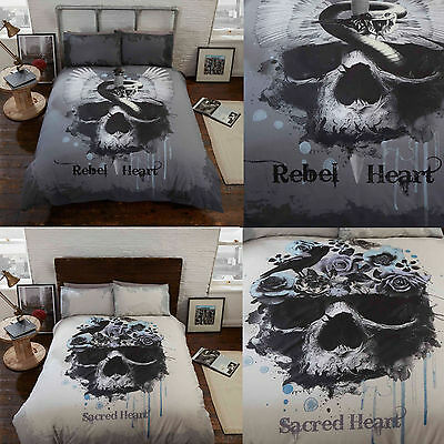 Gothic Duvet Cover & Pillowcase Set Snakes & Skulls