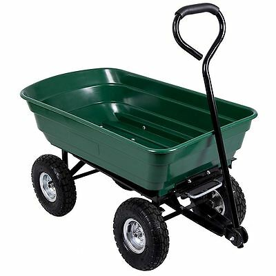 Dump Cart Garden Tipper Trolley Wheelbarrow Trailer Truck 75L Heavy Duty Tipping