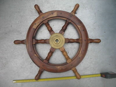 Vintage Ship Boat Timber Brass Genuine Steering Wheel Collectible or Use