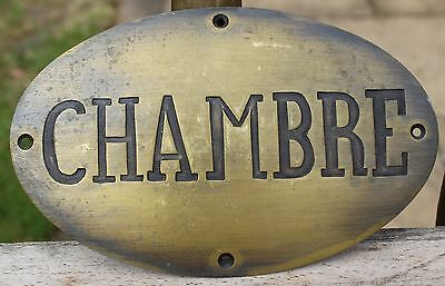 Old French Brass Hotel Door Plaque | French Chambre Sign | Door Plaque (1 Of 2)