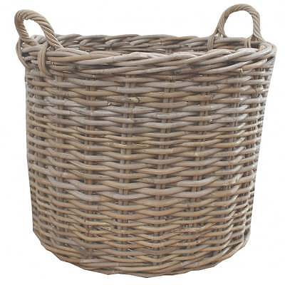 Grey & Buff Rattan Round Wicker Log Storage Basket Fireplace Wood Fire Kindling