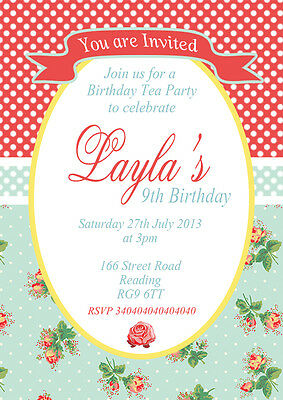 Afternoon Tea Birthday Party Invitations x 50 | + envs various design choices