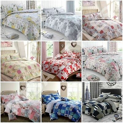 Patchwork Vintage Floral Butterfly Duvet Quilt Cover Bedding Set Grey Pink Red