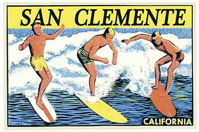 San Clemente, California  Surfers   Vintage-Style Travel  Decal