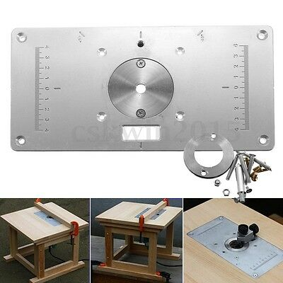 "9.3""x4.7""x0.3"" Aluminum Router Table Insert Plate w/ Rings For DIY Woodworking"