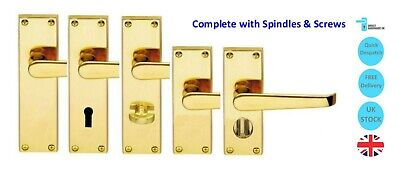 Victorian Br Straight Door Handle Sets Lever Latch Lock Bathroom Privacy Pack