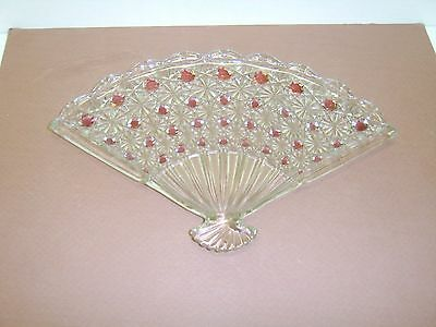 """L.G. Wright Glass 10 1/2"""" Daisy & Button Vanity Tray Snack Plate Ruby Buttons"""