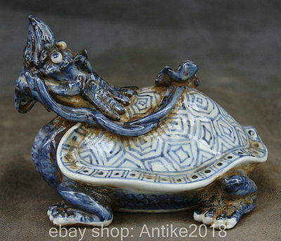 15CM Ancient China Blue White Porcelain Fengshui Dragon Turtle Nhyc Lucky Statue