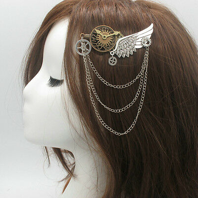 New 1pc Medieval Victorian Headwear Props Punk Hairclip Gear Wings Pattern Retro