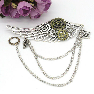 1pc Medieval Victorian Breastpin Props Punk Brooch Pin Gear Wing Pattern Retro