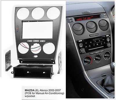 Fascia facia Mazda 6 2002-2007 Pocket Harness Double 2 Din Dash Stereo DVD Radio