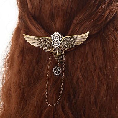 1pc Steampunk Gear Wing Pattern Lolita Lady Vintage Medieval Victorian Hairclip