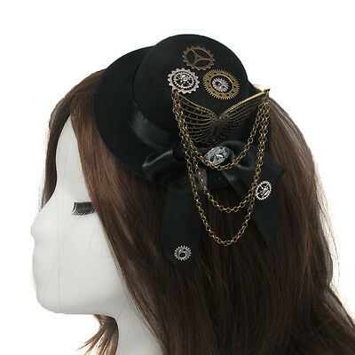 1pc Gear Bowknot Hat Pattern Hair Clip Wings Steampunk Gothic Head Wear Gifts