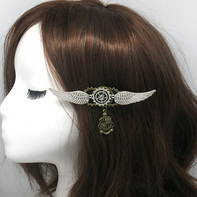 Hot 1pc Steampunk Girls Gear Wings Pattern Hairpin Vintage Gothic Lady Headwear