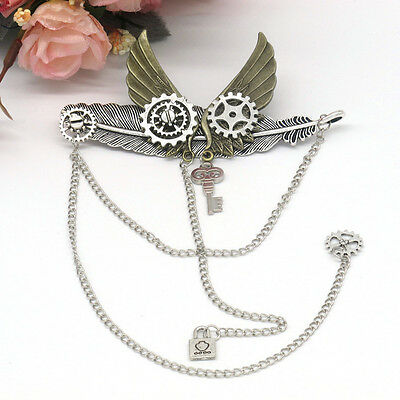 1pc Vintage Steampunk Gear Wings Lolita Brooch Pin Gothic Punk Party Breastpin