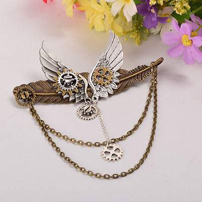1pc Steampunk Girls Gear Wings Pattern Hairpin Vintage Gothic Lady Headwear
