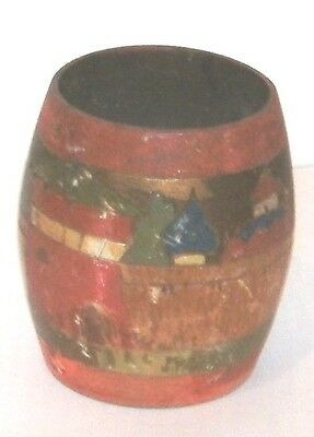 Early Handpainted Wooden Barrel Pot In Fairly Good Condition 3 1/2 Inches Tall