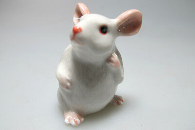 Hand Painted Miniature Collectible Ceramic White Rat Mouse Figurine