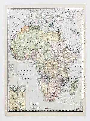 1913 AFRICA RAILROAD MAP Huge Double Page Commercial Atlas Plate Original