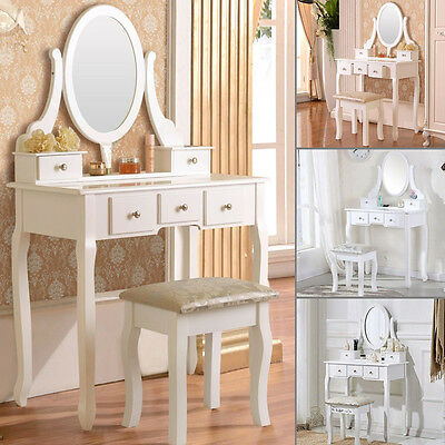 White Dressing Table with Stool and 360° Mirror Makeup Desk Set Make-up Dresser