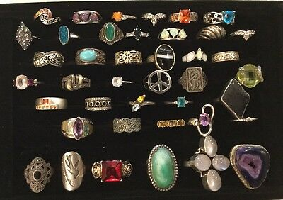 Lot Of 41 Vintage All Marked Sterling Silver Rings Opal, Onyx, Turquoise Sizes