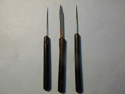 Antique Dissection Tools - Ebony ? Handles