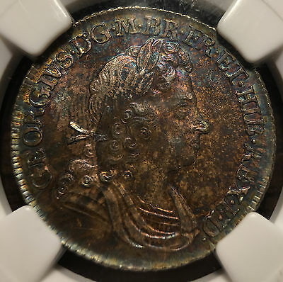1717 Great Britain 1 Shilling ESC-1164 Plumes & Roses NGC MS 63
