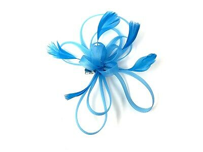 Turquoise Feather Fascinator Hair Clip Ladies Day Races Party Wedding